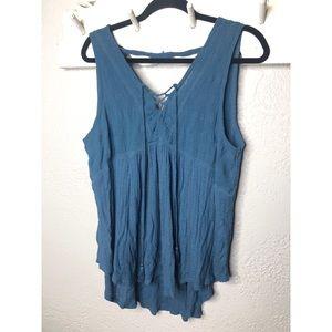Lucky brand dusty blue knit tank top L
